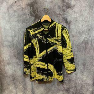 Ming Wang Black Yellow Open Front Cardigan Size M